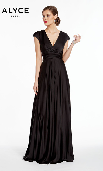 Formal Dress: 27305. Long, V-Neck, Flowy, Enclosed Back