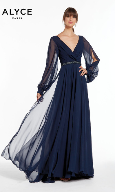 Formal Dress: 27295. Long, V-Neck, Flowy, V Shaped Back