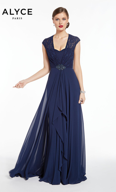 Formal Dress: 27292. Long, Scoop Neck, Flowy, Enclosed Back