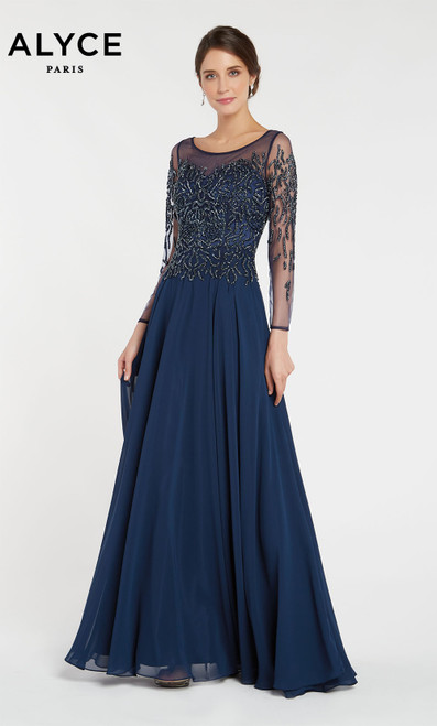 Formal Dress: 27244. Long, Scoop Neck, Flowy, Enclosed Back