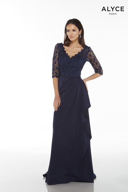 Formal Dress: 27242. Long, V-Neck, Straight, V Shaped Back