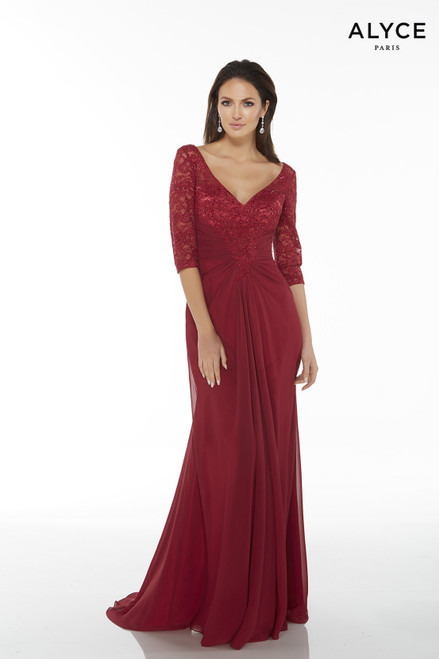 Formal Dress: 27234. Long, V-Neck, Straight, V Shaped Back