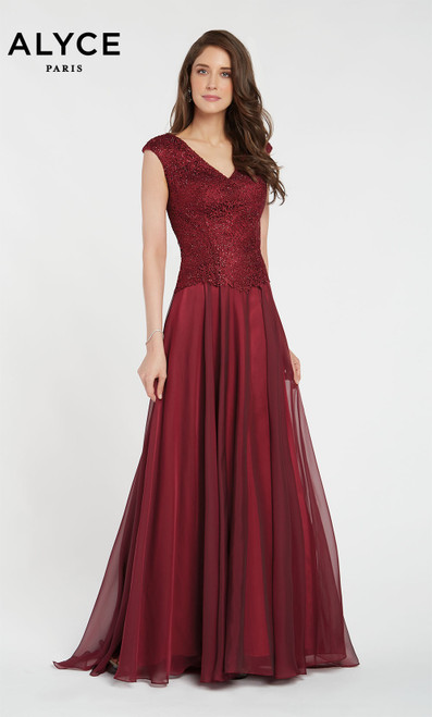 Formal Dress: 27232. Long, V-Neck, Medium Fullness