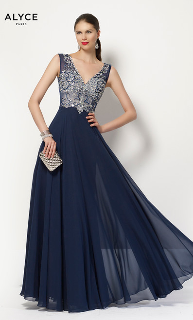 Formal Dress: 27165. Long, V-Neck, Flowy, Keyhole Back