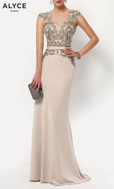 Formal Dress: 27109. Long, Illusion Neckline, Straight