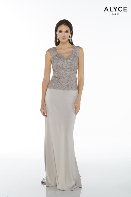 Formal Dress: 27105. Long, Scoop Neck, Straight
