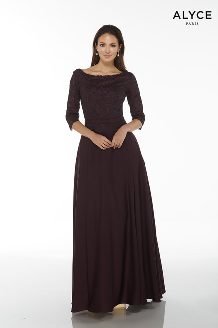 Formal Dress: 27099. Long, Bateau Neckline, Medium Fullness