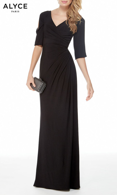 Formal Dress: 27054. Long, V-Neck, Straight, V Shaped Back