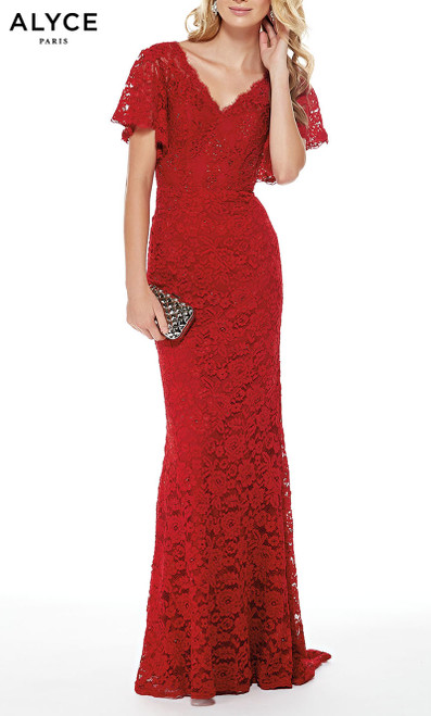 Formal Dress: 27025. Long, V-Neck, Straight, V Shaped Back