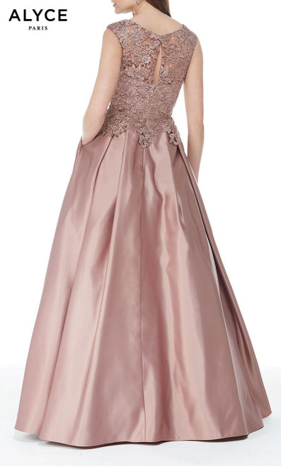 Formal Dress: 27010. Long, Bateau Neckline, Medium Fullness