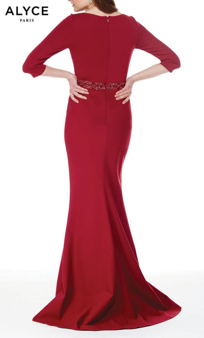 Formal Dress: 27007. Long, Scoop Neck, Straight Formal Wear, Long, Jersey, Scoop Neck, Straight, Enclosed Back, Beaded Waist