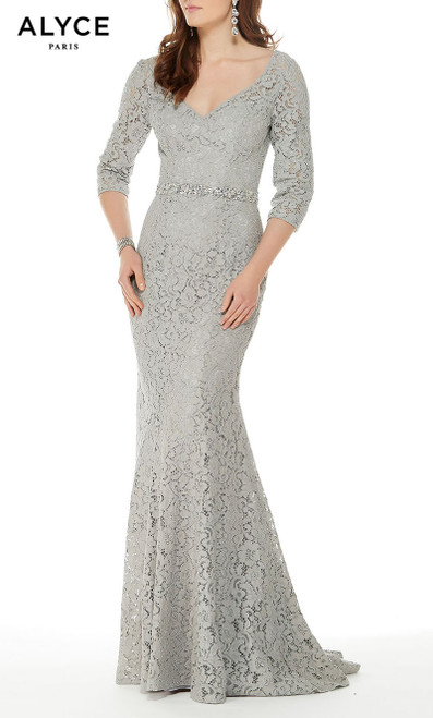 Formal Dress: 27004. Long, V-Neck, Straight, Enclosed Back