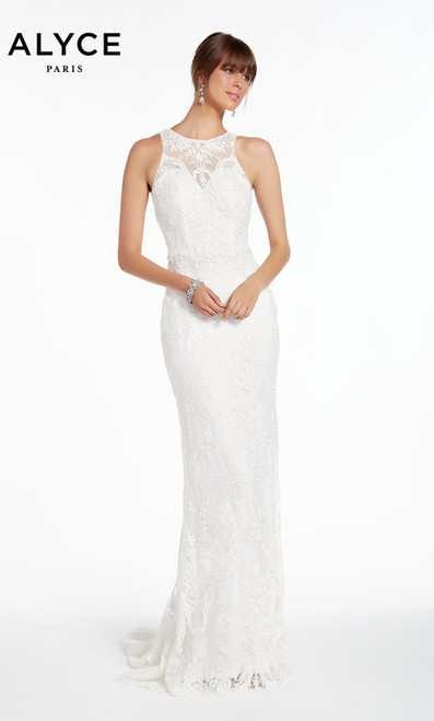Formal Dress: 7008. Long, Scoop Neck, Straight, Keyhole Back
