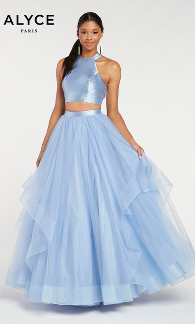 Alyce 60210 long two piece ballgown with a halter crop top and layered tulle skirt