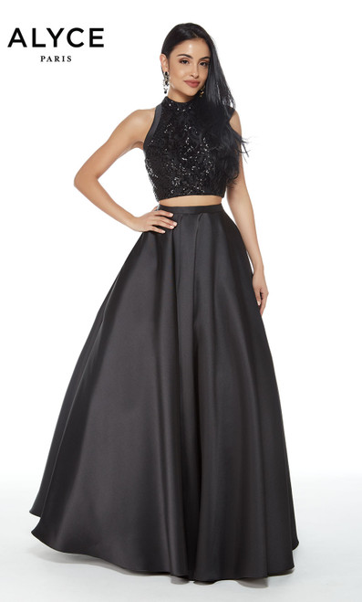 Formal Dress: 60277. Long, High Neck, Medium Fullness
