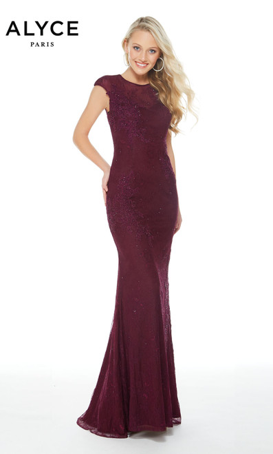 Formal Dress: 60261. Long, Scoop Neck, Straight Formal Wear, Long, Lace-Lace Applique, Scoop Neck, Straight, Keyhole Back, Ca