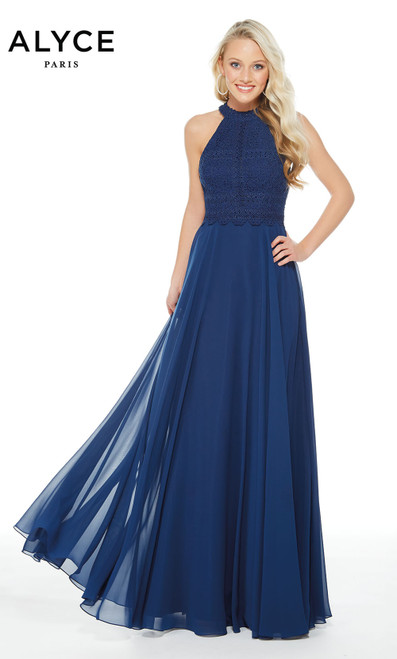 Formal Dress: 60256. Long, Halter, Flowy, Keyhole Back