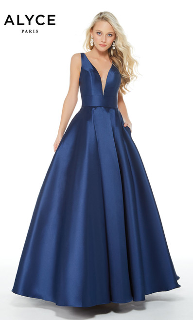 Formal Dress: 60253. Long, V-Neck, Medium Fullness