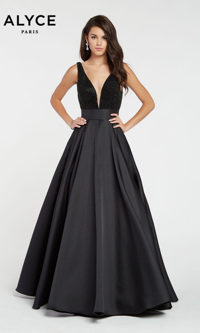 Formal Dress: 60224. Long, Plunging Neckline, Medium Fullness