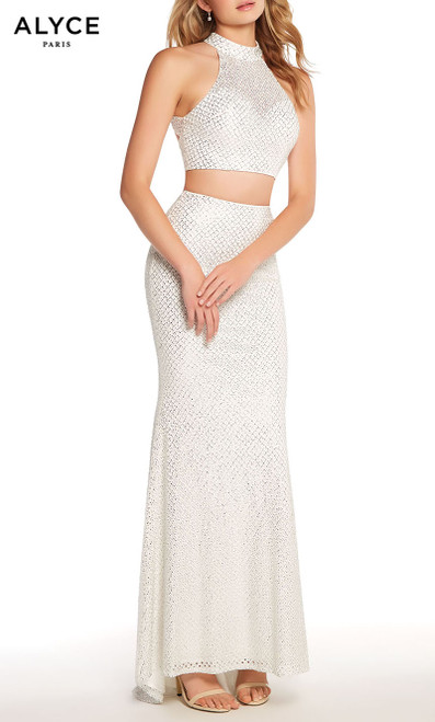 Formal Dress: 60161. Long, Halter, Straight, Cutout Back Formal Wear, Long, Diamond Lace, Halter, Straight, Cutout Back, <Br/