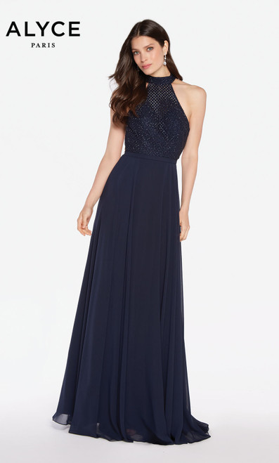 Alyce 60160 long flowy gown with a halter neckline