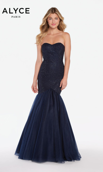 Formal Dress: 60159. Long, V-Neck, Mermaid, V Shaped Back