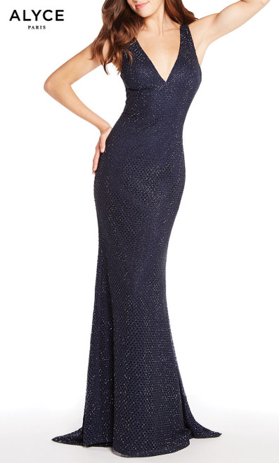 Formal Dress: 60156. Long, V-Neck, Straight, V Shaped Back