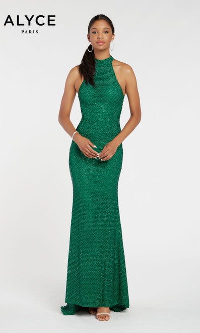 Formal Dress: 60155. Long, V-Neck, Straight, V Shaped Back