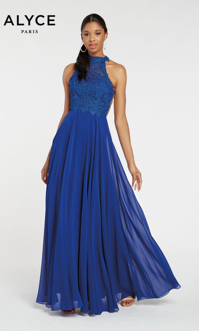 Formal Dress: 60061. Long, Halter, Flowy, Racer Back