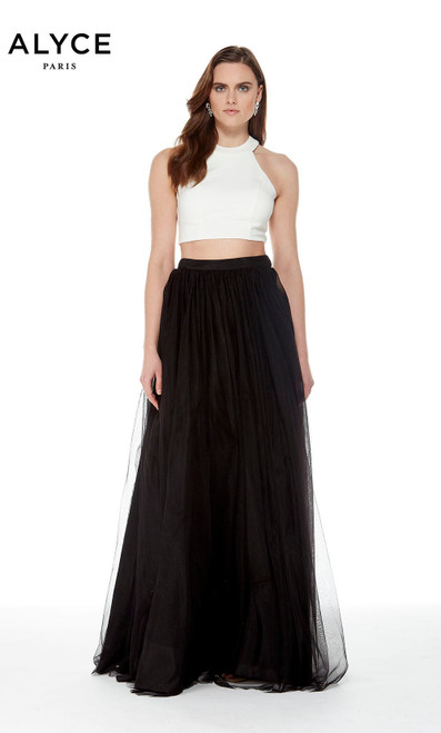 Alyce 22250 long two piece gown with a halter crop top