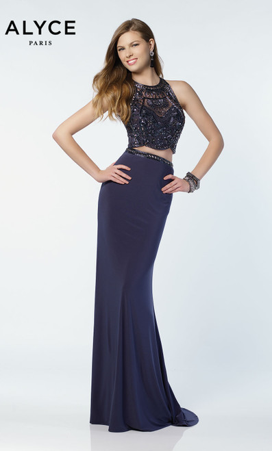 Formal Dress: 6711. Long, Scoop Neck, Straight, Keyhole Back