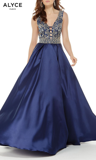 Formal Dress: 5043. Long, V-Neck, Ballgown, Open Back