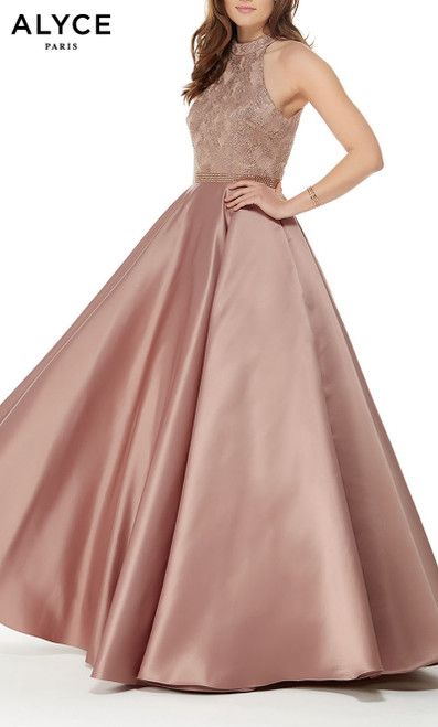 Formal Dress: 5021. Long, Halter, Ballgown, Keyhole Back