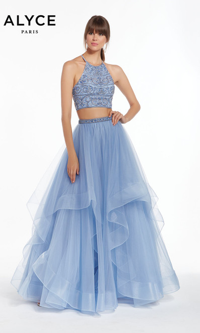 Formal Dress: 1416. Long, High Neck, Ballgown, Strappy Back