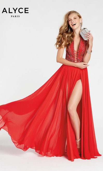 Formal Dress: 1404. Long, Plunging Neckline, Flowy