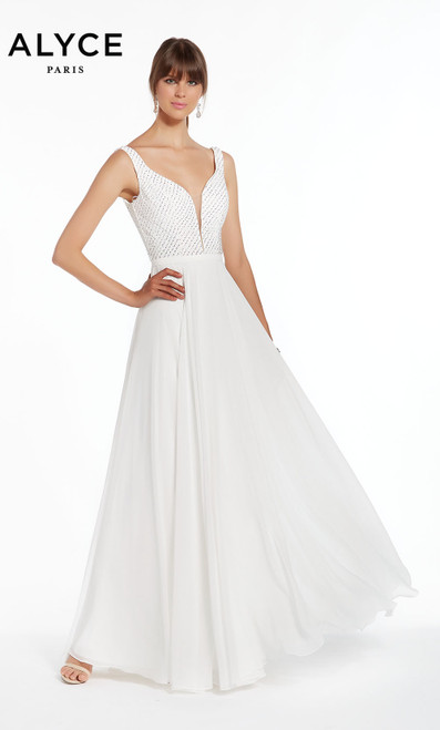 Formal Dress: 1389. Plunging Neckline, Flowy, V Shaped Back