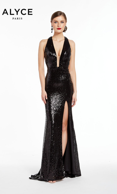 Formal Dress: 1386. Long, Halter, Straight, Keyhole Back