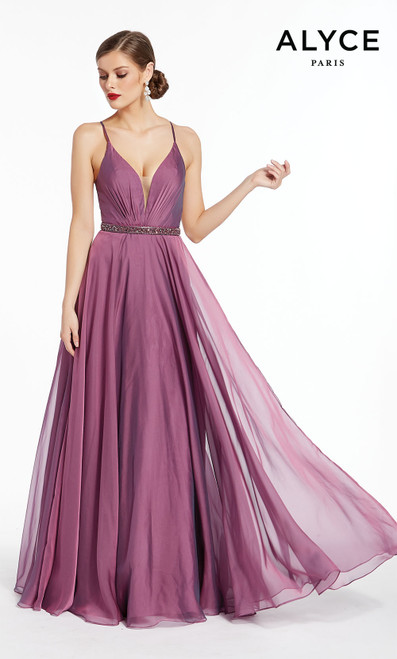 Formal Dress: 1383. Long, V-Neck, Flowy, Strappy Back