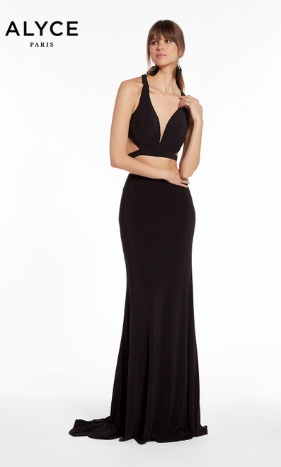 Formal Dress: 1379. Long, V-Neck, Straight, Open Back
