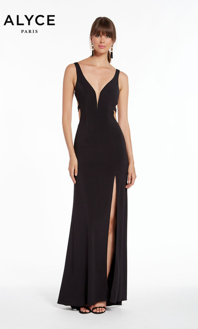 Formal Dress: 1378. Long, V-Neck, Straight, Strappy Back
