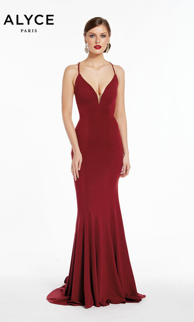 Formal Dress: 1375. Long, V-Neck, Straight, Strappy Back