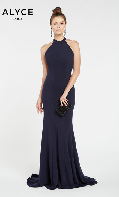 Formal Dress: 1374. Long, High Neck, Straight, Strappy Back