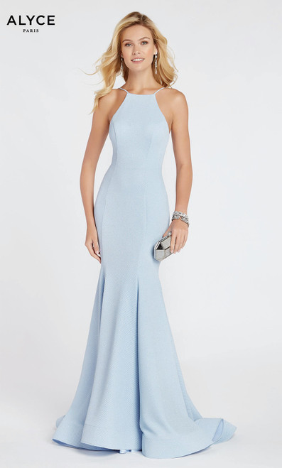 Formal Dress: 60551. Long, Halter, Straight, Enclosed Back