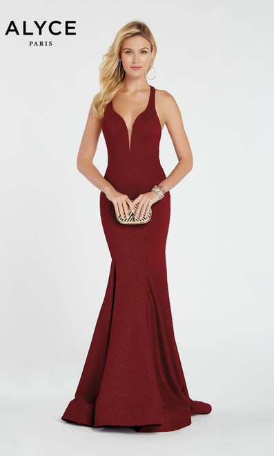 Formal Dress: 60550. Long, V-Neck, Straight, Strappy Back