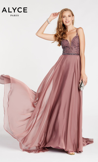 Formal Dress: 60546. Long, V-Neck, Flowy, V Shaped Back
