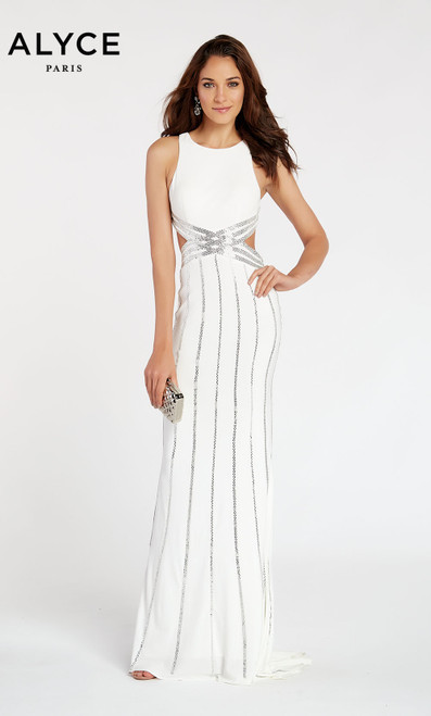 Formal Dress: 60537. Long, Scoop Neck, Straight, Open Back