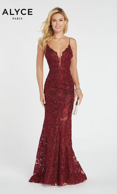 Formal Dress: 60492. Long, V-Neck, Straight, Enclosed Back