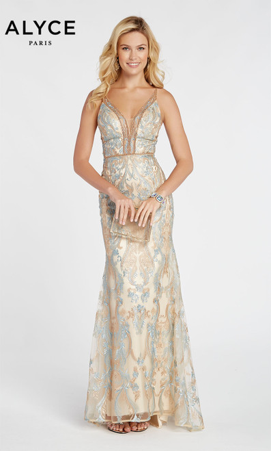 Formal Dress: 60488. Long, V-Neck, Straight, Enclosed Back