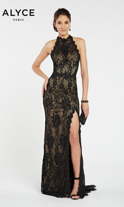 Formal Dress: 60485. Long, Halter, Straight, Strappy Back