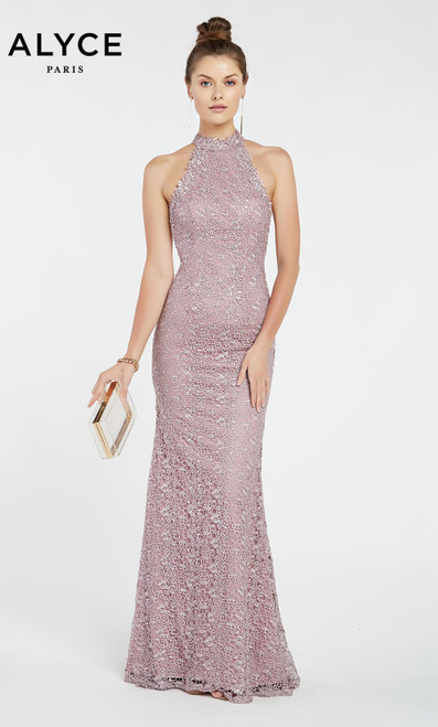 Formal Dress: 60484. Long, High Neck, Straight, Strappy Back